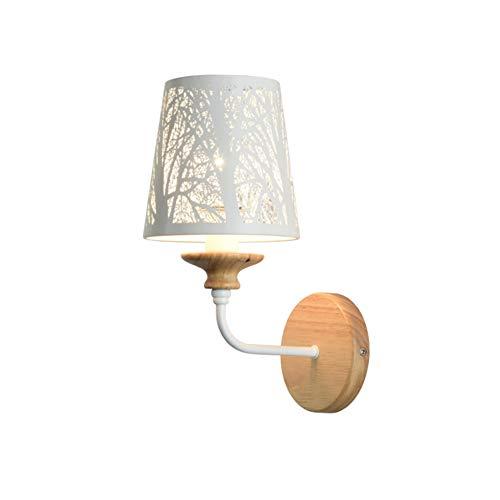 Kreative Weiße Eisen-Ausschnitt Wandleuchte Holz Schlafzimmer Nachttisch Moderne LED Wandleuchte Loft Nordic Design Home Decor Beleuchtung