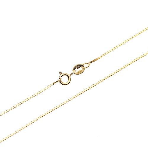 SWEETV 18 Karat Gold Vermeil 925 Silber Box Kette Halskette - 0.8mm Dünn Italienisch Halskette Damen Schmuck Feine, 45 cm