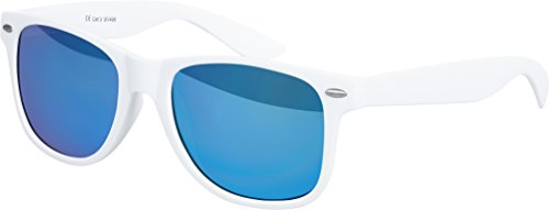Hochwertige Nerd Sonnenbrille Rubber im Wayfarer Stil Retro Vintage Unisex Brille mit Federscharnier - 96 verschiedene Farben/Modelle wählbar (Weiß - Blau verspiegelt)