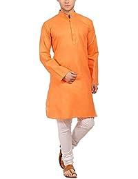 Ruchi Mart Los hombres indios de Festival Kurta Churidar Conjunto de pijama naranja étnico vestido de algodón