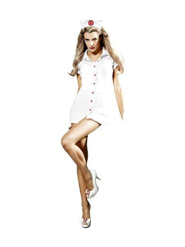 Baci Women's O.R. Nurse Set, White, One (Krankenschwester Kostüme Vinyl Kleid)