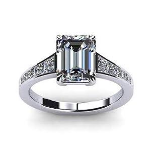 Damen-Ring Verlobungsring 14 Karat (750) Weißgold Moissanit Smaragdschliff 1,50 Karat Größe P O L K J I M