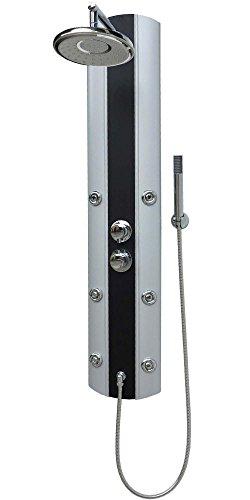 TDuschpaneel mit Thermostat Dusche Duschsäule Duschset Duschsystem Duscharmatur Armatur Regendusche Duschbrause Duschkopf Handbrause Silber