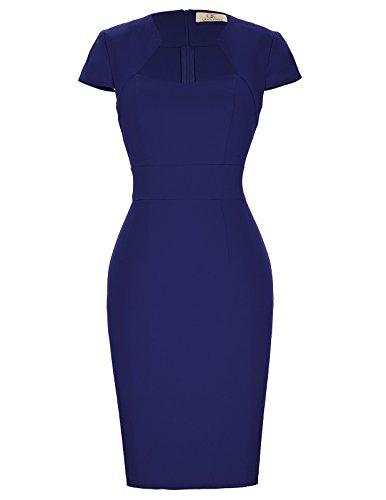 GRACE KARIN Vestidos Ajustados Estilo Vintage Estilo años 50 para Mujeres Oficina de Trabajo Azul Marino (CL8947-7) Mediano