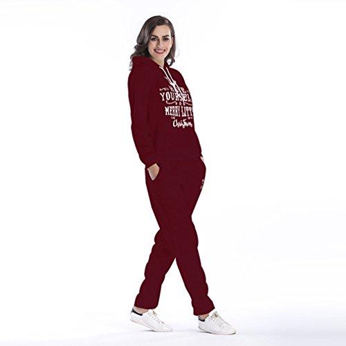 NiSeng Noël Alphabet Imprimé Pull À Capuche ,Femme Automne Casual Hoodie Survêtement Veste Manches Longues Col Rond Pull Shirt + Pantalons 2Pcs Suit Vin Rouge (Ensemble)