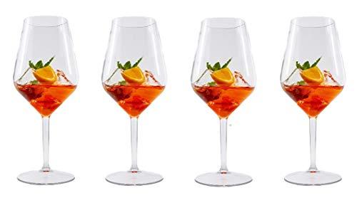 ritan Weingläser Plastik | Unzerbrechlich Mehrweg Plastik Rotweinglas | Wiederverwandbar und Spülmaschinenfest | Plastikbecher im 4er Set ()