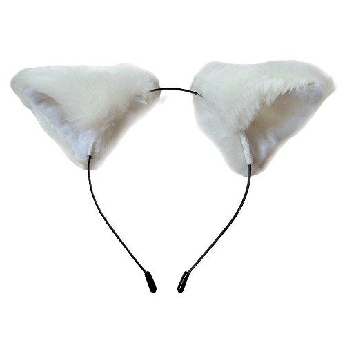 Cutegirl Katze Fox Ohren Langes Pelz Haar Stirnband Anime Cosplay Party Kostüm (Pure White)
