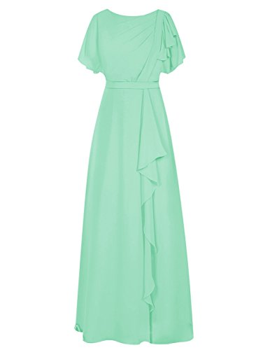 Dresstells Damen Bodenlang Chiffon Abendkleid Brautjungfer Kleider mit Ämel Ballkleid Mintgrün