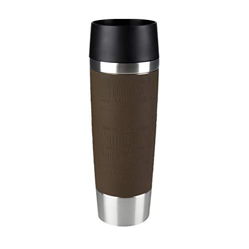 Emsa 515616 Travel Mug Standard-Design Grande, Thermobecher/Isolierbecher, 500ml, hält 4h heiß/ 8h kalt, 100% dicht, auslaufsicher, Easy Quick-Press-Verschluss, 360°-Trinköffnung, Farbe braun