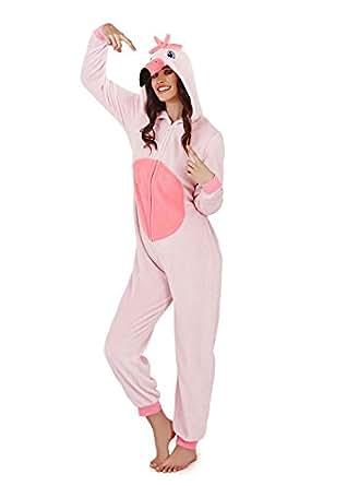 Combinaison Femme Loungeable Pyjama Pour Femmes 3D Oreilles Pyjama Tout En Un - Freya Le Flamant Rose, XL (48-50)