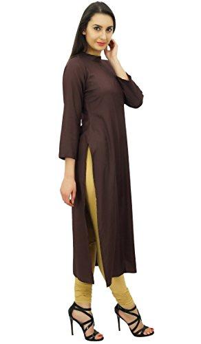 Bimba femmes manches pleine kurta de en rayonne plaine longue tunique chemisier Marron