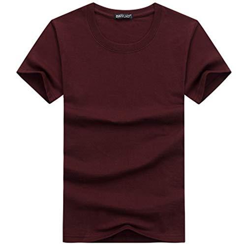 Baumwoll-gaze-big-shirt (YURACEER Short-Sleeve Sommer Herren 2019 Einfache kreative Design Linie einfarbig Baumwolle T Shirts männer Neue Kurzarm Männer t-Shirt Plus größe x1 Dark red M)