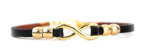 Schmuck Armband Unendlichkeit aus Stahl in gold, Leder Band in schwarz braun, 17,5 cm, Damen Armschmuck Infinity, Farbe:Schwarz