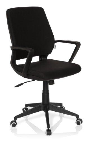 HJH Office 719280 Sedia da Ufficio/Sedia Girevole ESTRA Black Tessuto Nero, meccanismo oscillante, Regolabile in Altezza, Design Moderno, Stabile, 110 kg
