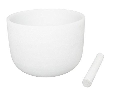 Weiße Klangschale aus Kristall, matt, Note F, Herz-Chakra, 20cm, Klang & Material von bester Qualität, inklusive Schlägel aus Wildleder