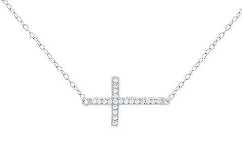 Femme 45,7cm Oxyde de Zirconium Plat Bords Croix Collier