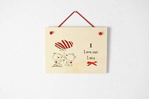 Targa San Valentino regalo personalizzato in legno disegno coppia orsetti