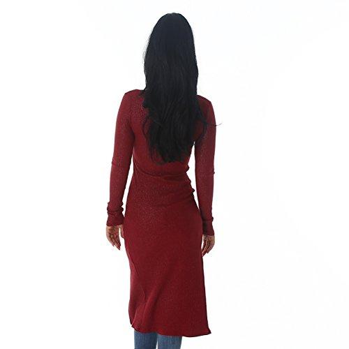 Damen Strickjacke im Feinrippmuster mit Glitzer-Effekt, lange Ärmel und Stehkargen, Reißverschluss, figurbetonend Weinrot