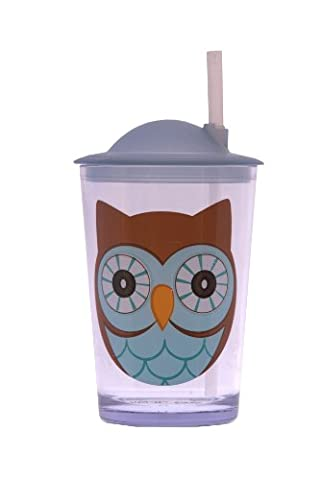 Epicurean Europe 7.5 x 7.5 x 14.2 cm Acrylic SAN Friendly Faces Children's Blue and Brown Owl Design Tumbler with Straw Lid,