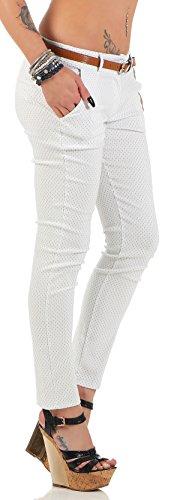 ZARMEXX 7711 Damen gepunktete Stretch Röhrenhose mit Gürtel Chino Skinny Stoffhose Jeggings Weiß