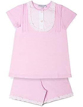 [Sponsorizzato]Mod.23dav rosa, pigiama Siebaneck corto bambina/ragazza ( da 2 a 16 anni ) 100%cotone rosa naturale con davantino...