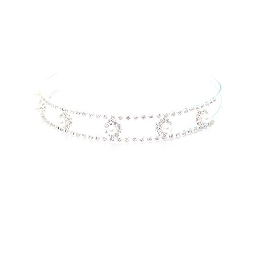 Headbands Hairbands for Women Baby Girls Tiara Alice Sparkling Silver Diamante Rhinestones Pearls by Trimming Shop®