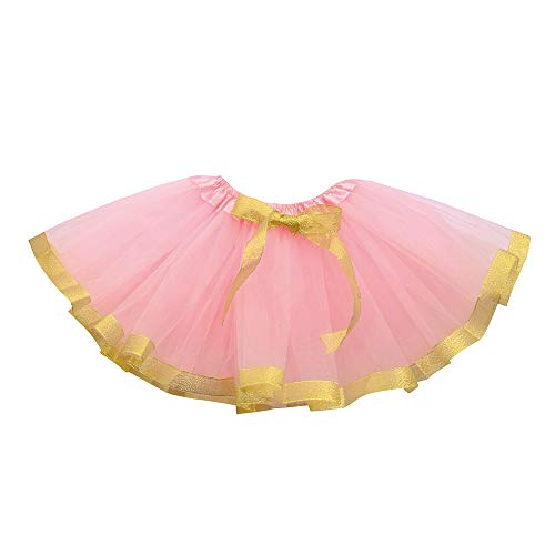 Andouy Mädchen Tutu Tüll Ballett Rock Einfarbiger Bogen Prinzessin Gr.0 Monate-128 Kostüm Party Fancy(76-94(0-24 Monate),Pfirsich)