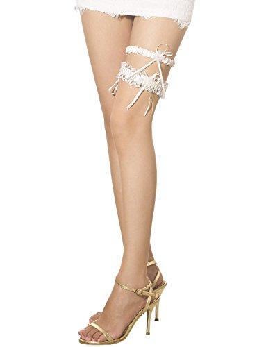 iB-iP Damen Zwei Stück Spitze Satin Blume Bogen Band Schenkel Hoch Strumpfband, Größe: Einheitsgröße, Weiß -