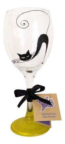 'chat noir' 340 ml Verre à vin peint à la main par Memories-like-these Verre à vin Inscription Royaume-Uni