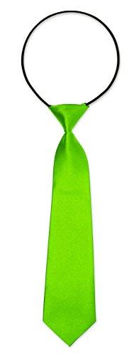 Kinderkrawatte Krawatte Kinder Jungen Gummiband gebunden dehnbar Konfirmation Taufe (Neongrün)