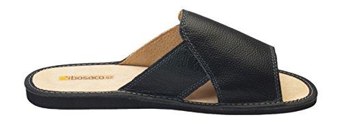 Hommes confort luxe chaussons pantoufles Cuir veritable Noir