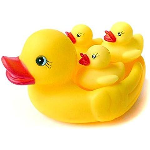 EQLEF® 4pcs / lotto anatre di gomma sveglio Set del ragazzo della neonata Facendo il bagno Giocattoli per bambini di nuoto di vasca da bagno del giocattolo dell'acqua