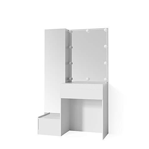 Vicco Schminktisch Gloria Weiß mit LED - Beleuchtung Hochglanz Frisierkommode Frisiertisch Spiegel +++ MIT EXTRA GROßEM SPIEGELSCHRANK +++