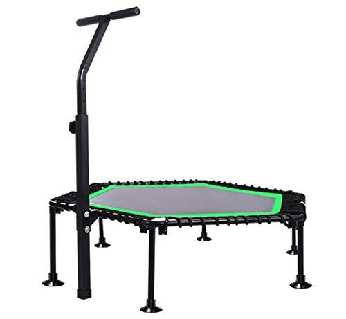 "LKFSNGB Adult Fitness Trampolin - Verstellbare Armlehnen und Gummiband mit Gummiband, 45\""faltbares sechseckiges Trampolin/Fitnessgerät"