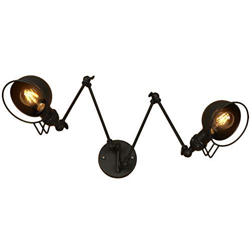 LED Wandlight Retro Antik Industrial Design Schwarz Runde Wandleuchte Doppelter Kopf Wandstrahler...