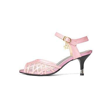 LvYuan Sandalen-Kleid Lässig Party & Festivität-Tüll Kunstleder-Stöckelabsatz-Fersenriemen Club-Schuhe-Rosa Weiß Beige Pink