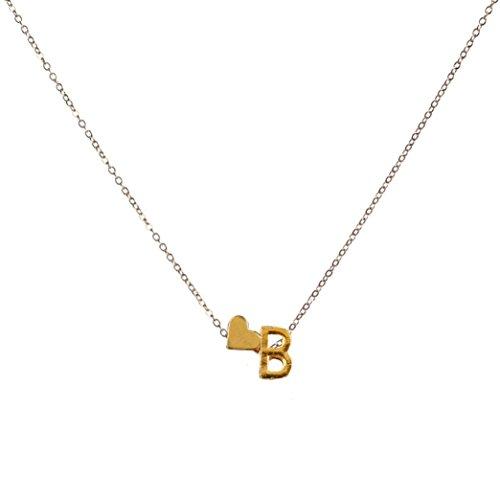 OverDose 26 englisch Buchstaben Name Liebe Herz Kette Anhänger Halsketten Schmuck Necklaces Jewelry (B) (White Wing Mens)