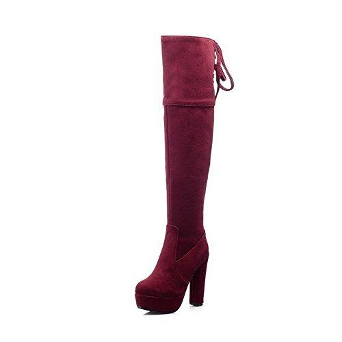 AllhqFashion Damen Reißverschluss Niedriger Absatz Rein Hoch-Spitze Stiefel mit Metallisch, Rot, 37