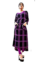 Rose Petals Fully Stitched Indo Western Reyon Check Kurti in Different Designer Cuts and Style with unique neck detailing (CHEp5012), check dress for women western, checks kurtis for women latest