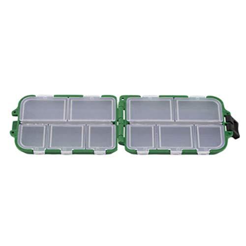 JMT-0825 Tragbare wasserdichte Fischköder Box Löffel Haken Aufbewahrungsbox Behälter Grün -