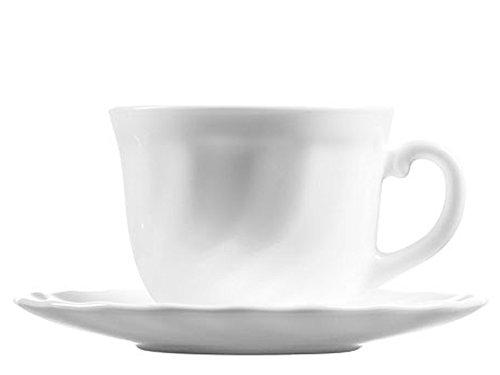 Luminarc Trianon Set Tazze per Latte con Piattino, Vetro, Bianco, 4 Pezzi