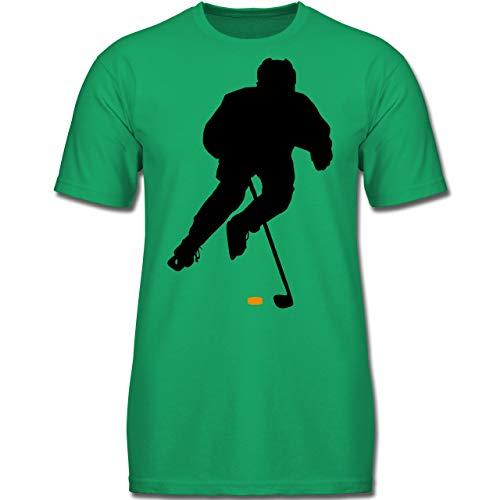 Sport Kind - Eishockey Spieler - 140 (9-11 Jahre) - Grün - F130K - Jungen Kinder T-Shirt