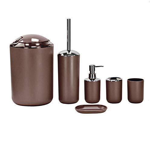 Juego de accesorios de baño de 6 piezas, dispensador de loción, jabonera, soporte, vaso y papelera, marrón