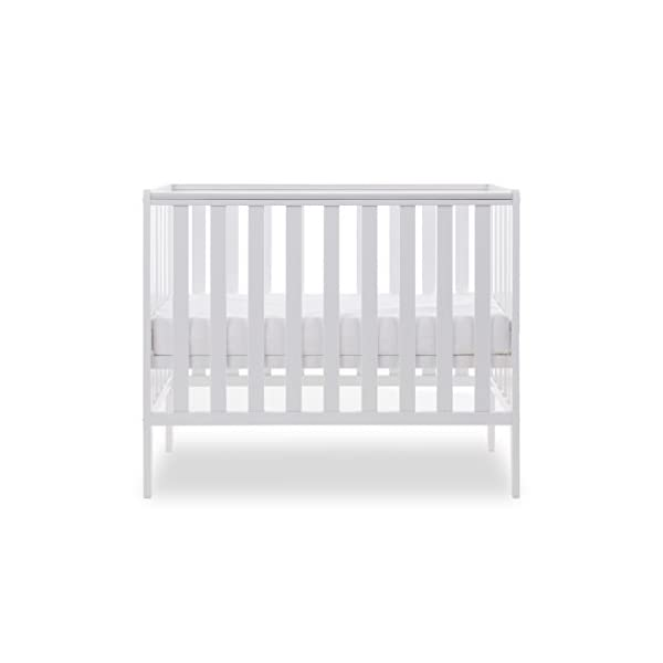 Obaby Bantam Space Saver Cot, White Obaby Adjustable, 3 position base height Beautiful slatted ends and sides help you keep an eye on your little one Teething rails ensure delicate teeth are protected 3