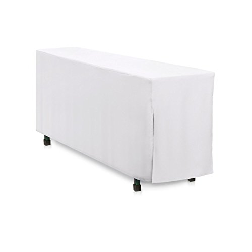 Hans-Textil-Shop Biertischhusse 220x50 cm Weiß Baumwolle Linon Bodenlang