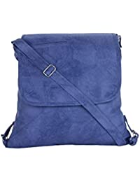 CFI Blue Synthetic Leather Sling Bag For Women / Girls