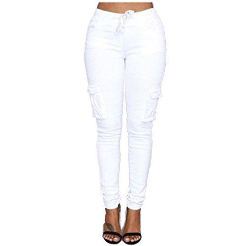 Flat Front Stretch-leggings (Tefamore Fashion Sexy Frauen Hose High-Waist Stretch Slim Bleistift Hosen (S, Weiß))
