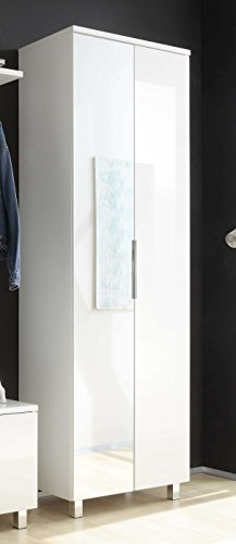 AVANTI TRENDSTORE - Swindal - Hochschrank in weiß Hochglanz / matt Dekor, ca. 65x200x39 cm