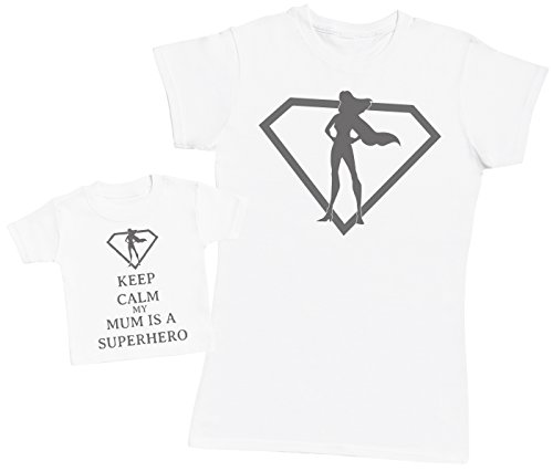 Keep Calm My Mum is A Superhero - Ensemble Mère Bébé Cadeau - Femme T Shirt & bébé T-Shirt - Blanc - Medium & 3-6 Mois