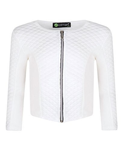 LotMart Girls Textured Long Sleeve Jacket Zip Fastening Diamond Quilted Kids Party and Free Gift promotional pen with every parcel